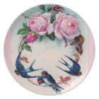Vintage Valentine with Birds and Roses Plate
