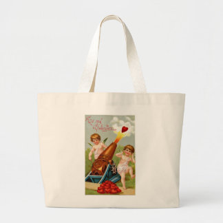 Vintage Valentine with Heart Cannon Jumbo Tote Bag