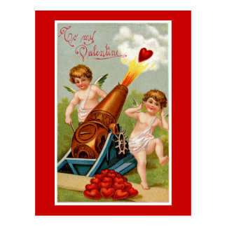 Vintage Valentine with Heart Cannon Postcard