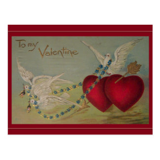 Vintage Valentine with Hearts and Doves Postcard