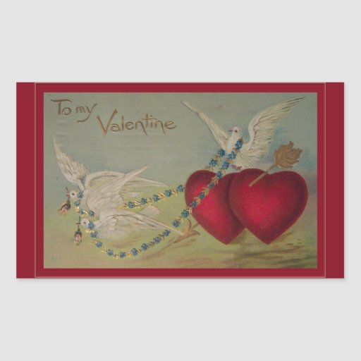Vintage Valentine with Hearts and Doves Rectangle Sticker