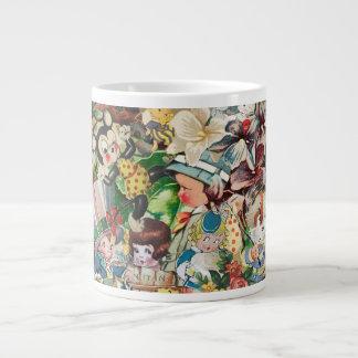Vintage Valentines Collage Large Coffee Mug
