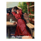 Vintage Valentines Couple Kissing Card