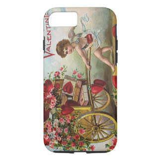 Vintage Valentines Day Angel, Cart of Love Hearts iPhone 7 Case