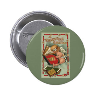 Vintage Valentine's Day Angel, Cupid Reading Book 6 Cm Round Badge