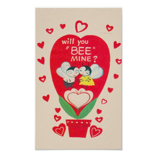 Vintage Valentines Day Card Posters