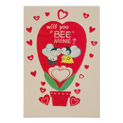 Vintage Valentines Day Card Poster