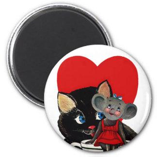Vintage Valentine's Day, Cat Mouse Tea Cup Heart 6 Cm Round Magnet