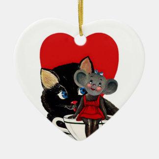 Vintage Valentine's Day, Cat Mouse Tea Cup Heart Ceramic Heart Decoration