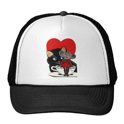 Vintage Valentine's Day, Cat Mouse Tea Cup Heart Mesh Hats