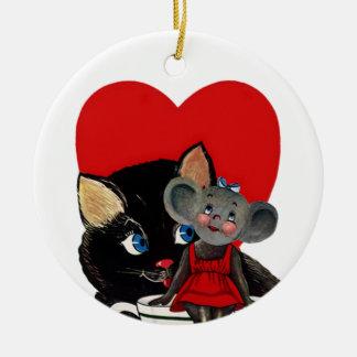 Vintage Valentine's Day, Cat Mouse Tea Cup Heart Round Ceramic Decoration