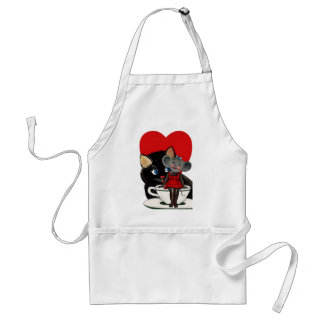 Vintage Valentine's Day, Cat Mouse Tea Cup Heart Standard Apron