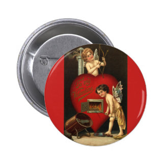 Vintage Valentines Day Cupid, Angels Burning Love 6 Cm Round Badge