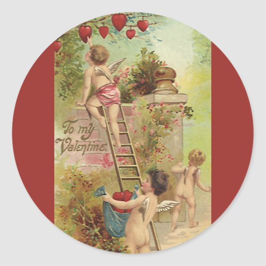 Vintage Valentine's Day, Cute Cherubs Climb Ladder Classic Round Sticker