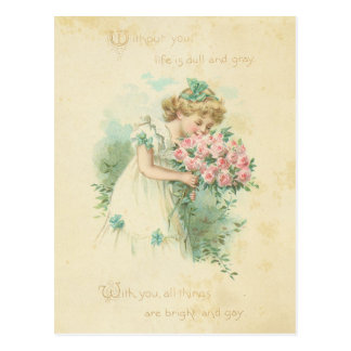 Vintage Valentine's Day Cute Girl Pink Roses Love Post Card