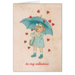 Vintage Valentine's Day Cute Girl Raining Hearts Greeting Card
