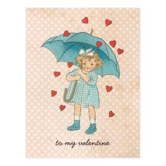 Vintage Valentine's Day Cute Girl Raining Hearts Postcard