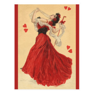 Vintage Valentine's Day, Dancing Lady Red Hearts Postcard