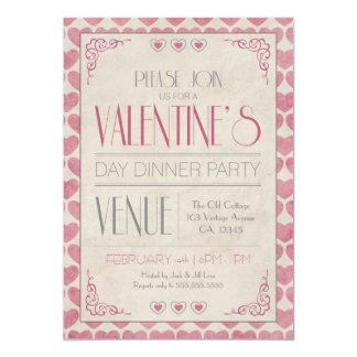 Vintage Valentine's Day Dinner Party Card