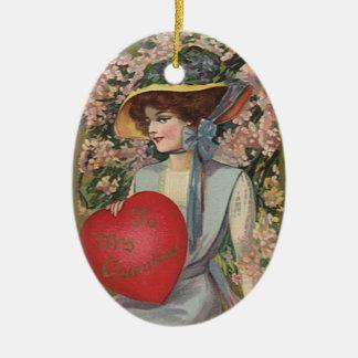 Vintage Valentine's Day, Elegant Lady with Heart Ceramic Oval Decoration