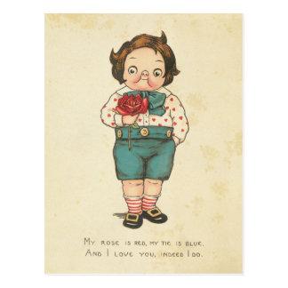 Vintage Valentine's Day Funny Boy Love Message Postcard