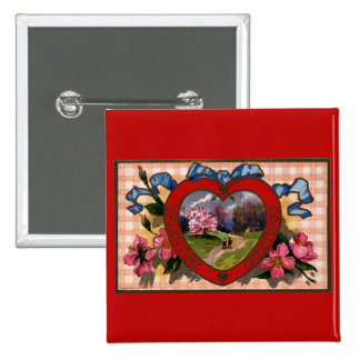 Vintage Valentines Day Greetings Heart and Flowers 15 Cm Square Badge