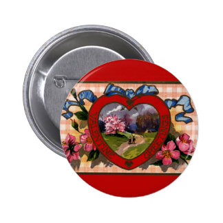 Vintage Valentines Day Greetings Heart and Flowers 6 Cm Round Badge