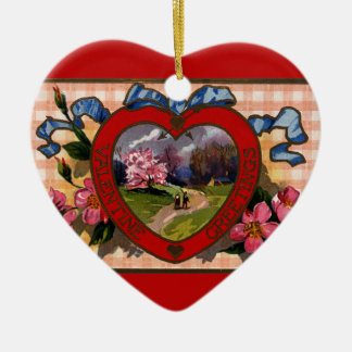 Vintage Valentines Day Greetings Heart and Flowers Ceramic Heart Decoration