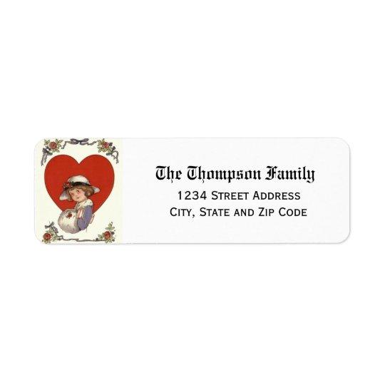 Vintage Valentine's Day Heart & Child Return Address Label