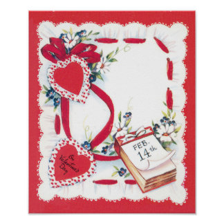 Vintage Valentine's Day Hearts, Ribbon and Flowers Poster
