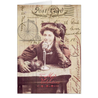 Vintage Valentine's Day Lady Antique Style Collage Greeting Card