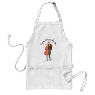 Vintage Valentines Day Lovers with Floating Hearts Standard Apron
