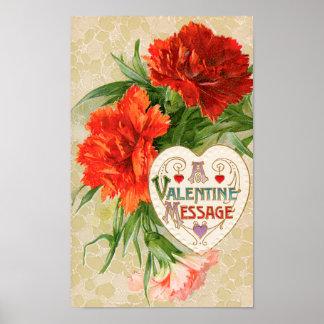 Vintage Valentine's Day Message, Carnation Flowers Poster
