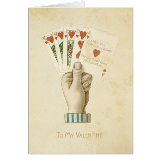 Vintage Valentine's Day Poker Hand Red Hearts Love Card