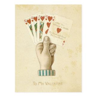 Vintage Valentine's Day Poker Hand Red Hearts Love Postcard