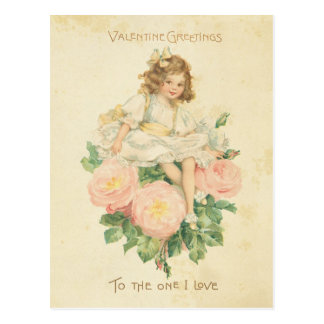 Vintage Valentine's Day Pretty Pink Rose Cute Girl Postcard