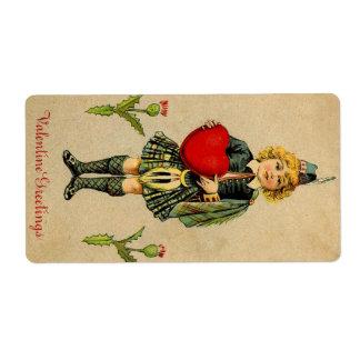 Vintage valentines day Scottish boy & heart