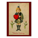 Vintage valentines day Scottish boy & heart Greeting Cards