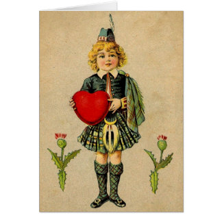 Vintage valentines day Scottish boy & heart Card