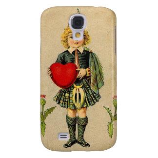 Vintage valentines day Scottish boy & heart Galaxy S4 Case