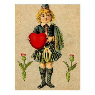 Vintage valentines day Scottish boy & heart Postcard