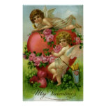 Vintage Valentines Day Victorian Angels Heart Rose Poster
