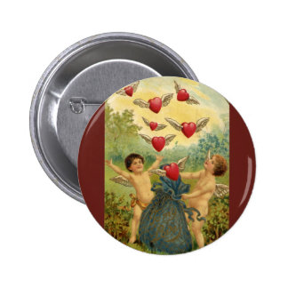 Vintage Valentine's Day, Victorian Angels Hearts 6 Cm Round Badge