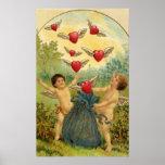 Vintage Valentine's Day, Victorian Angels Hearts Print