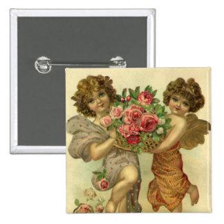 Vintage Valentine's Day Victorian Angels Roses 15 Cm Square Badge