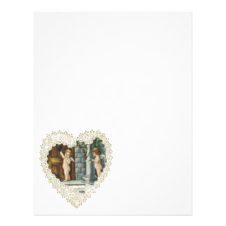 Vintage Valentine's Day, Victorian Angels w Letter Flyers