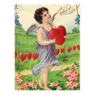 Vintage Valentines Day, Victorian Cupid with Heart Postcard