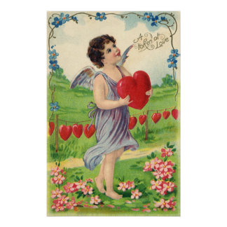 Vintage Valentines Day, Victorian Cupid with Heart Poster