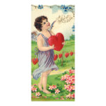 Vintage Valentines Day, Victorian Cupid with Heart Personalized Rack Card