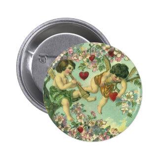 Vintage Valentines Day Victorian Cupids Heart Tree 6 Cm Round Badge